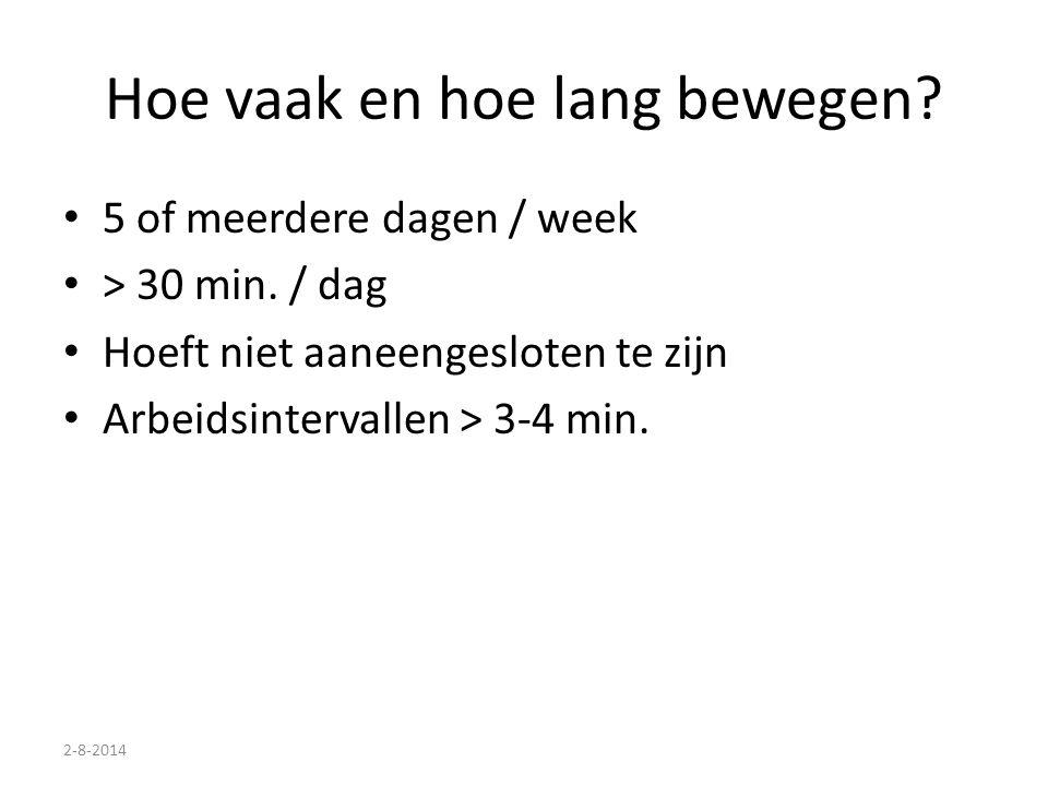 2-8-2014 Hoe vaak en hoe lang bewegen? 5 of meerdere dagen / week > 30 min. / dag Hoeft niet aaneengesloten te zijn Arbeidsintervallen > 3-4 min.