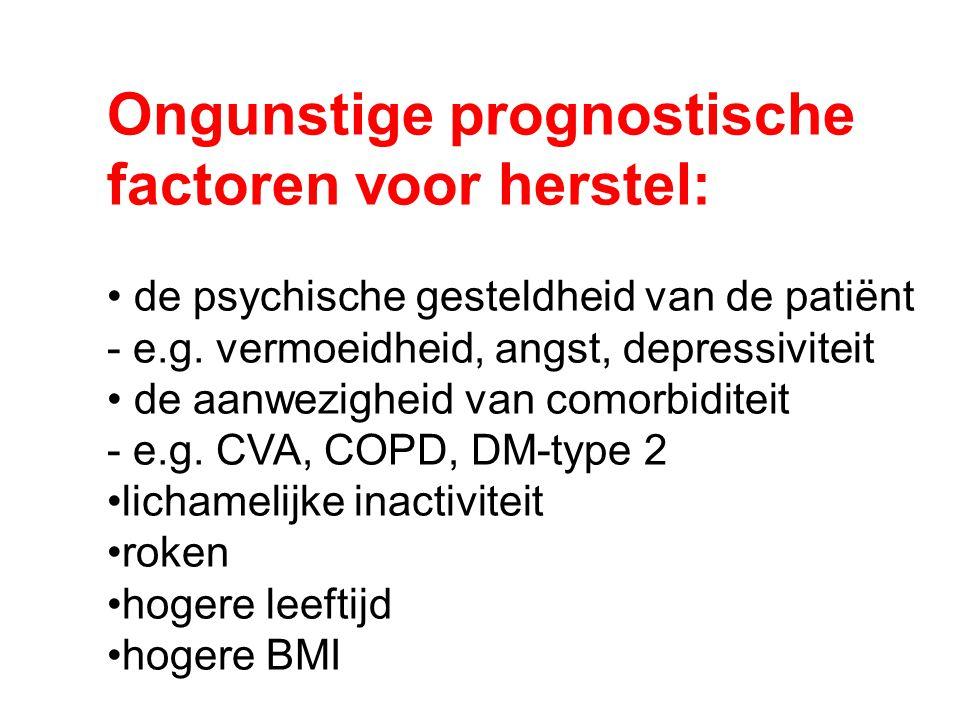 Ongunstige prognostische factoren voor herstel: de psychische gesteldheid van de patiënt - e.g. vermoeidheid, angst, depressiviteit de aanwezigheid va