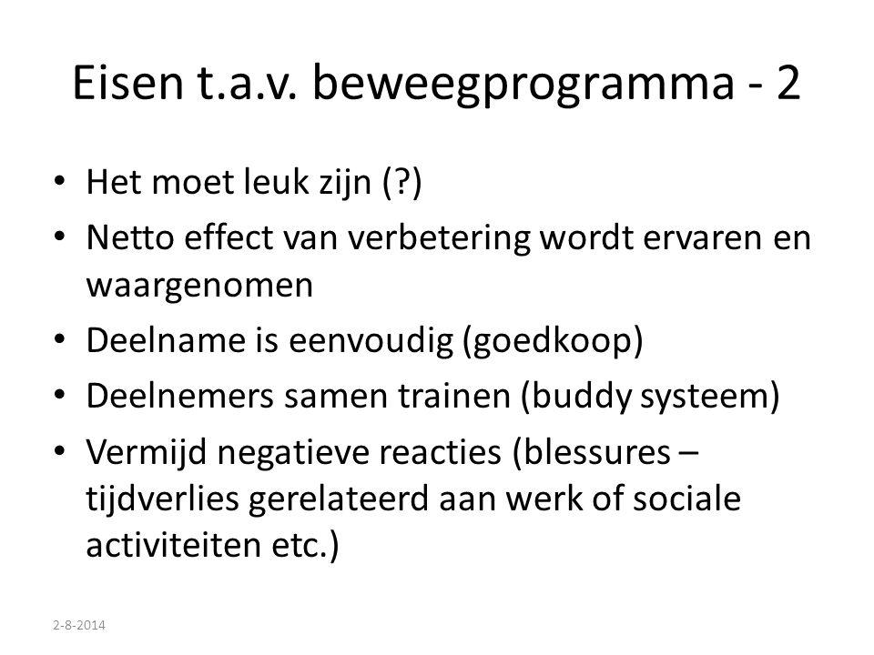 2-8-2014 Eisen t.a.v. beweegprogramma - 2 Het moet leuk zijn (?) Netto effect van verbetering wordt ervaren en waargenomen Deelname is eenvoudig (goed