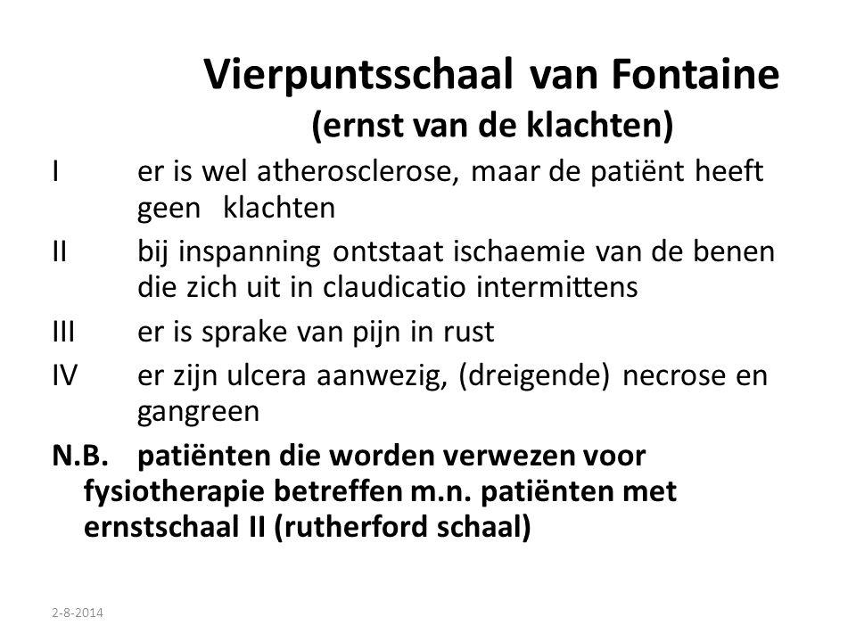 2-8-2014 Vierpuntsschaal van Fontaine (ernst van de klachten) I er is wel atherosclerose, maar de patiënt heeft geen klachten II bij inspanning ontsta