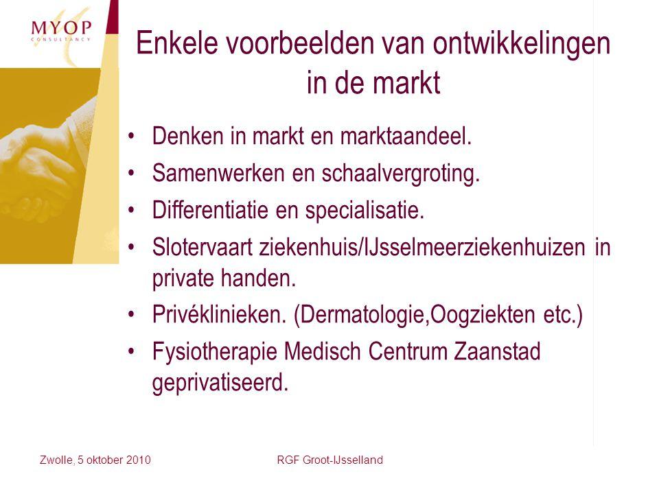 Zwolle, 5 oktober 2010RGF Groot-IJsselland Enkele voorbeelden van ontwikkelingen in de markt Denken in markt en marktaandeel. Samenwerken en schaalver