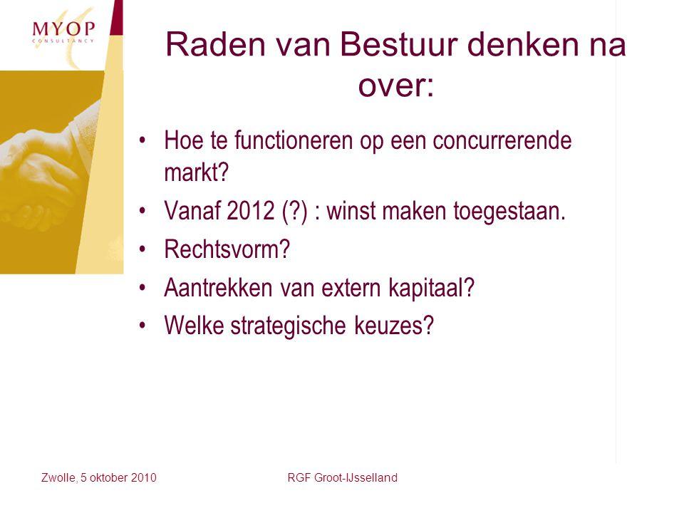 Zwolle, 5 oktober 2010RGF Groot-IJsselland Raden van Bestuur denken na over: Hoe te functioneren op een concurrerende markt? Vanaf 2012 (?) : winst ma
