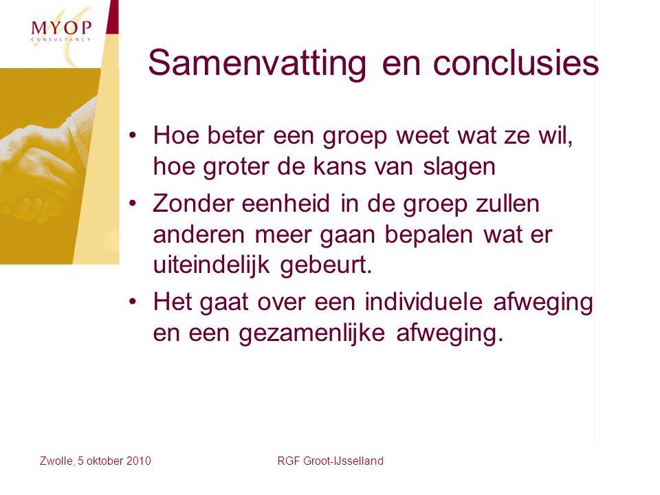 Zwolle, 5 oktober 2010RGF Groot-IJsselland Samenvatting en conclusies Hoe beter een groep weet wat ze wil, hoe groter de kans van slagen Zonder eenhei