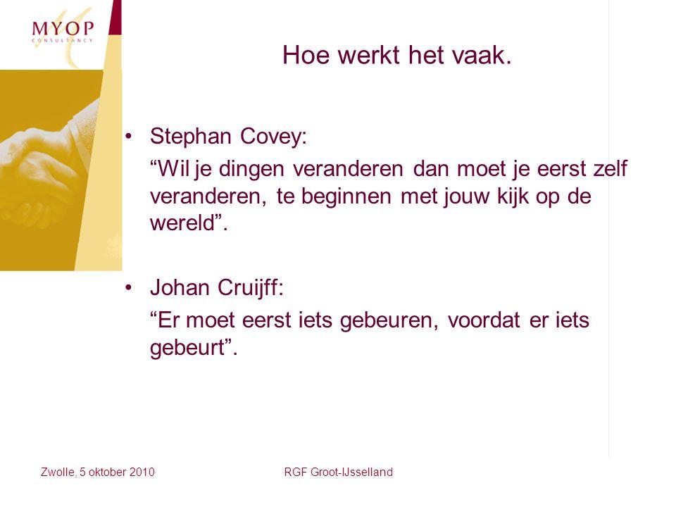 """Zwolle, 5 oktober 2010RGF Groot-IJsselland Hoe werkt het vaak. Stephan Covey: """"Wil je dingen veranderen dan moet je eerst zelf veranderen, te beginnen"""