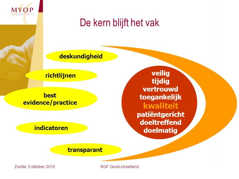 Zwolle, 5 oktober 2010RGF Groot-IJsselland veilig tijdig vertrouwd toegankelijk kwaliteit patiëntgericht doeltreffend doelmatig deskundigheid richtlij