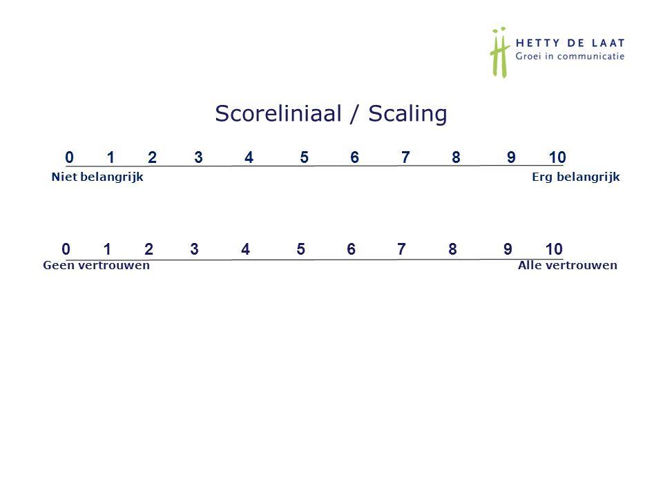 Scoreliniaal / Scaling 0 1 2 3 4 5 6 7 8 9 10 Niet belangrijk Erg belangrijk 0 1 2 3 4 5 6 7 8 9 10 Geen vertrouwen Alle vertrouwen