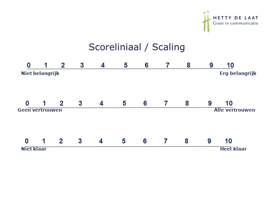 Scoreliniaal / Scaling 0 1 2 3 4 5 6 7 8 9 10 Niet belangrijk Erg belangrijk 0 1 2 3 4 5 6 7 8 9 10 Niet klaar Heel klaar 0 1 2 3 4 5 6 7 8 9 10 Geen