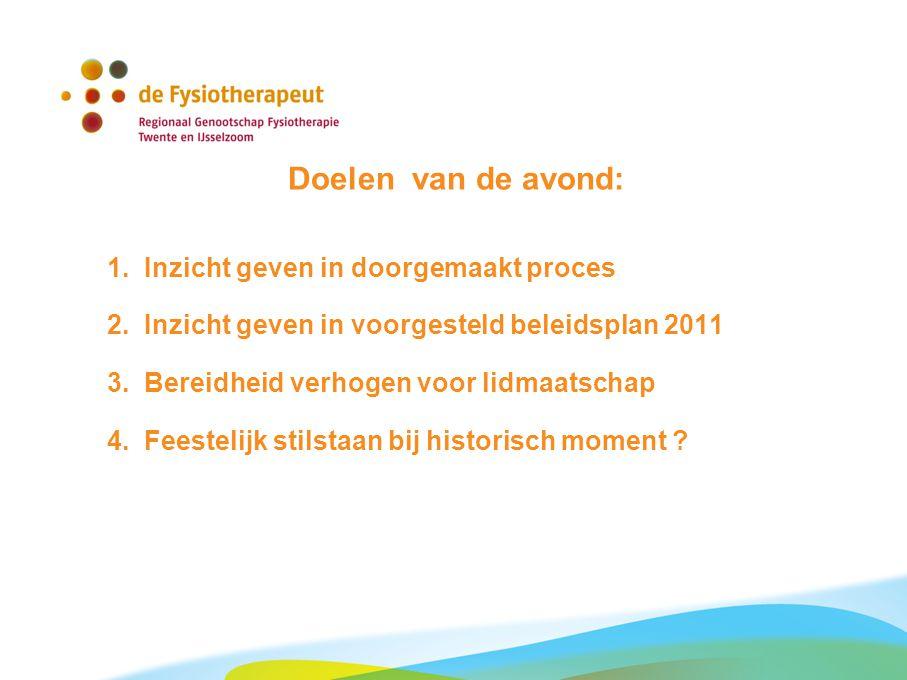 Doelen van de avond: 1. Inzicht geven in doorgemaakt proces 2. Inzicht geven in voorgesteld beleidsplan 2011 3. Bereidheid verhogen voor lidmaatschap