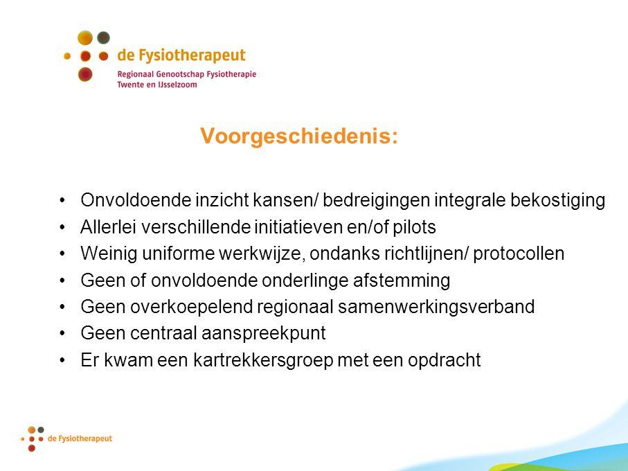 Opdracht voor de kartrekkers: Onderzoek of en hoe een regionale organisatie van en voor fysiotherapeuten in het gebied Deventer Salland er uit zou kunnen zien en maak in overleg met de achterban de vervolgstappen.