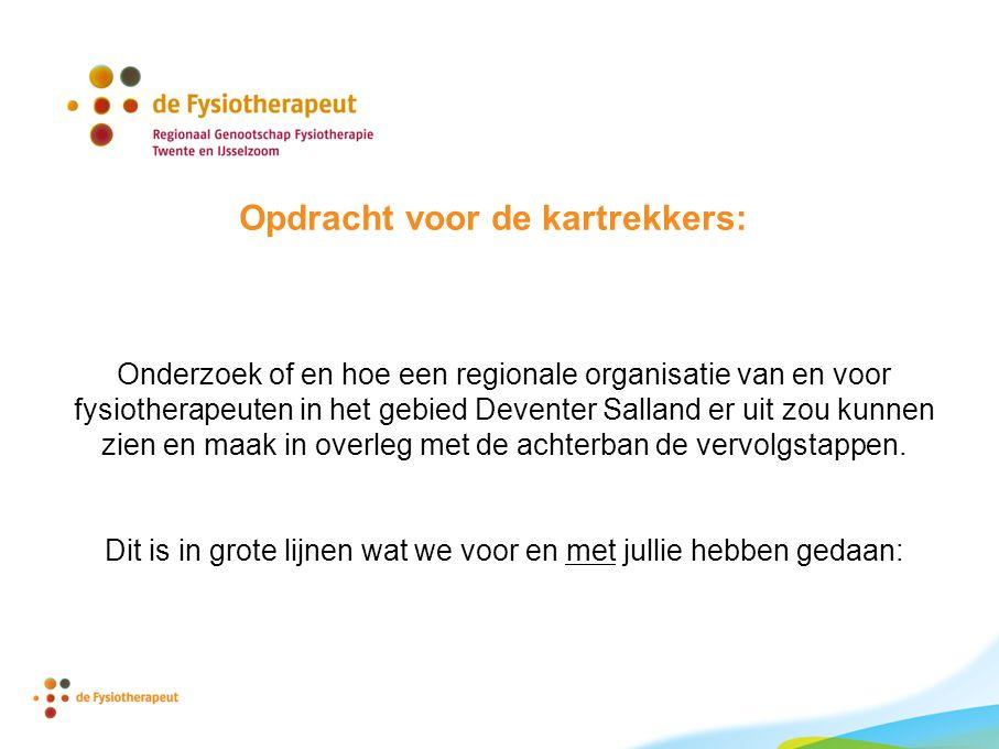 Opdracht voor de kartrekkers: Onderzoek of en hoe een regionale organisatie van en voor fysiotherapeuten in het gebied Deventer Salland er uit zou kun
