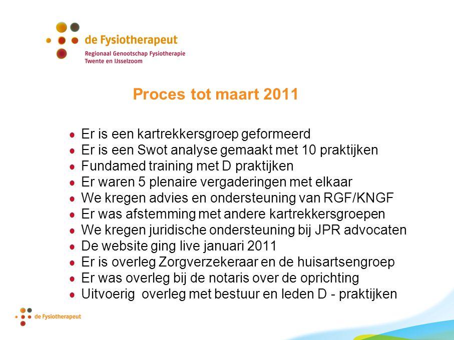 Proces tot maart 2011  Er is een kartrekkersgroep geformeerd  Er is een Swot analyse gemaakt met 10 praktijken  Fundamed training met D praktijken