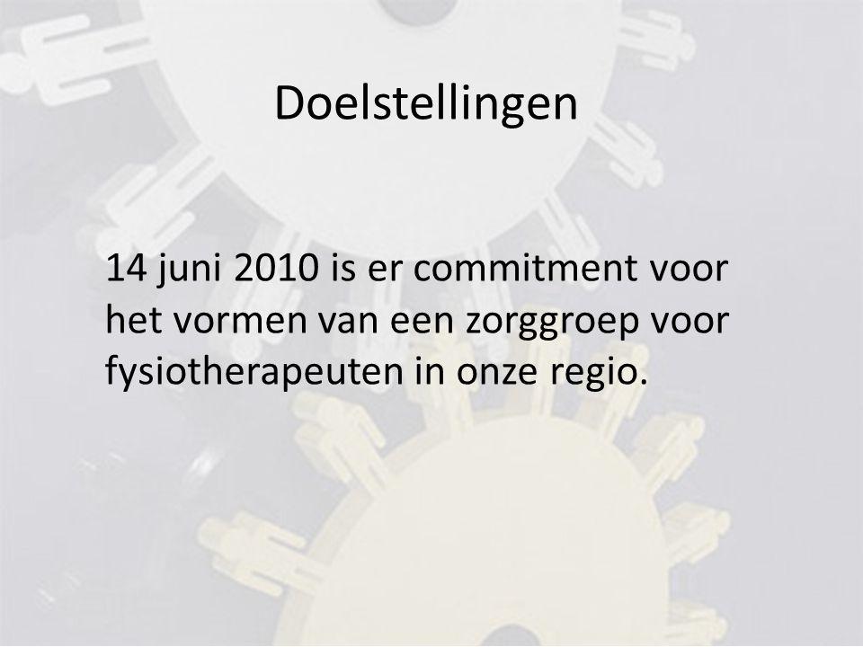 Doelstellingen 14 juni 2010 is er commitment voor het vormen van een zorggroep voor fysiotherapeuten in onze regio.