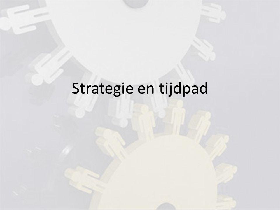 Strategie Klein beginnen (onduidelijkheid, mankracht, financiën) Opsplitsbaar zijn (NMA) Breed draagvlak Behoud identiteit praktijken Behoud van bestaande samenwerkingsverbanden Centrale afspraken over kwaliteit en prijs
