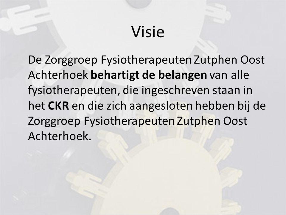 De Zorggroep Fysiotherapeuten Zutphen Oost Achterhoek behartigt de belangen van alle fysiotherapeuten, die ingeschreven staan in het CKR en die zich aangesloten hebben bij de Zorggroep Fysiotherapeuten Zutphen Oost Achterhoek.