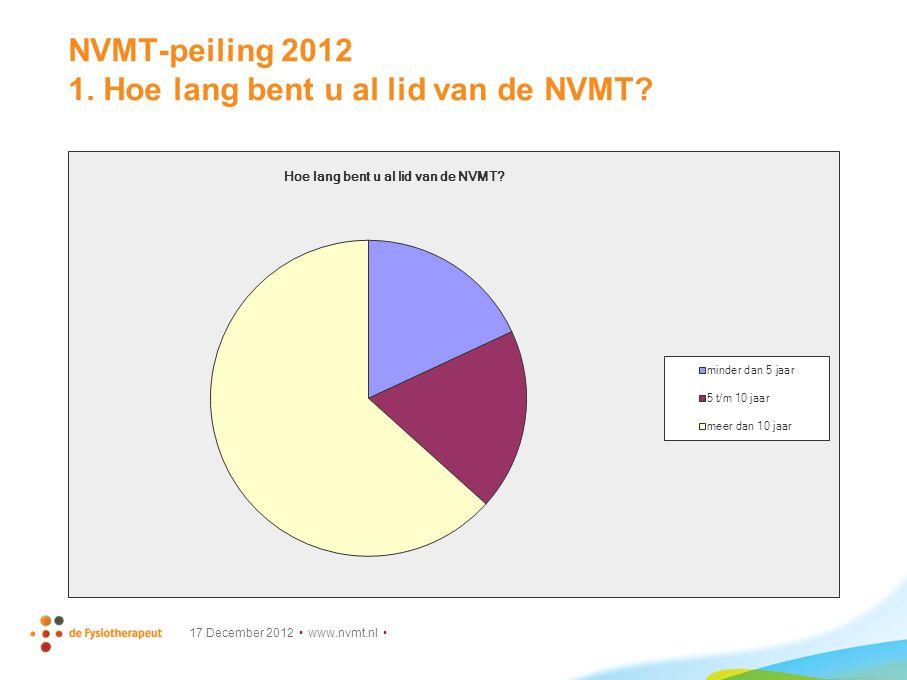 NVMT-peiling 2012 1. Hoe lang bent u al lid van de NVMT 17 December 2012 www.nvmt.nl