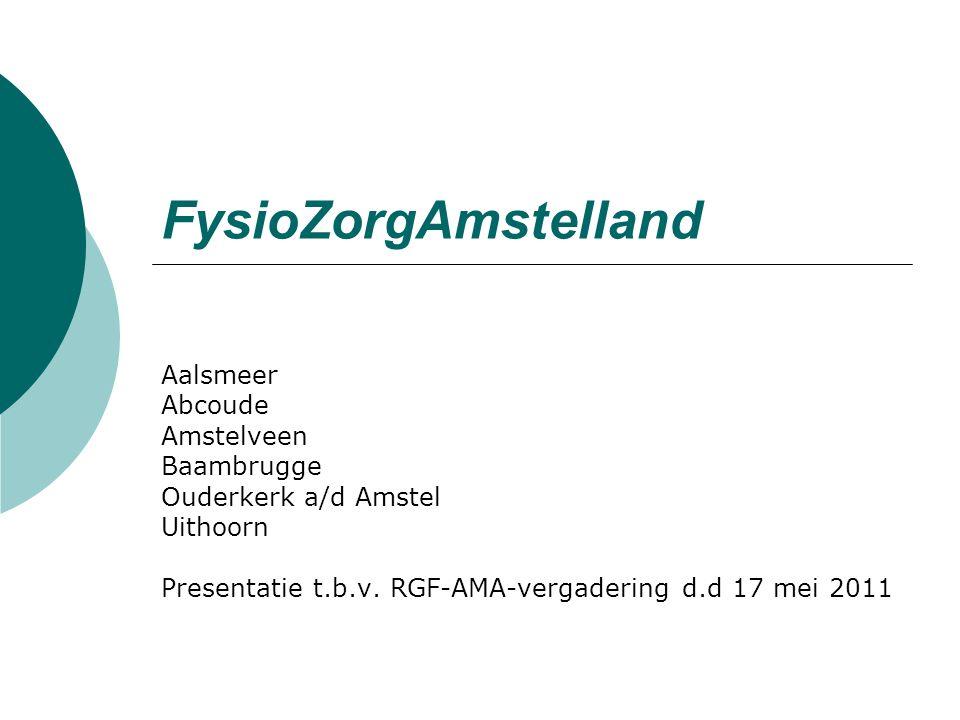 FysioZorgAmstelland Aalsmeer Abcoude Amstelveen Baambrugge Ouderkerk a/d Amstel Uithoorn Presentatie t.b.v.