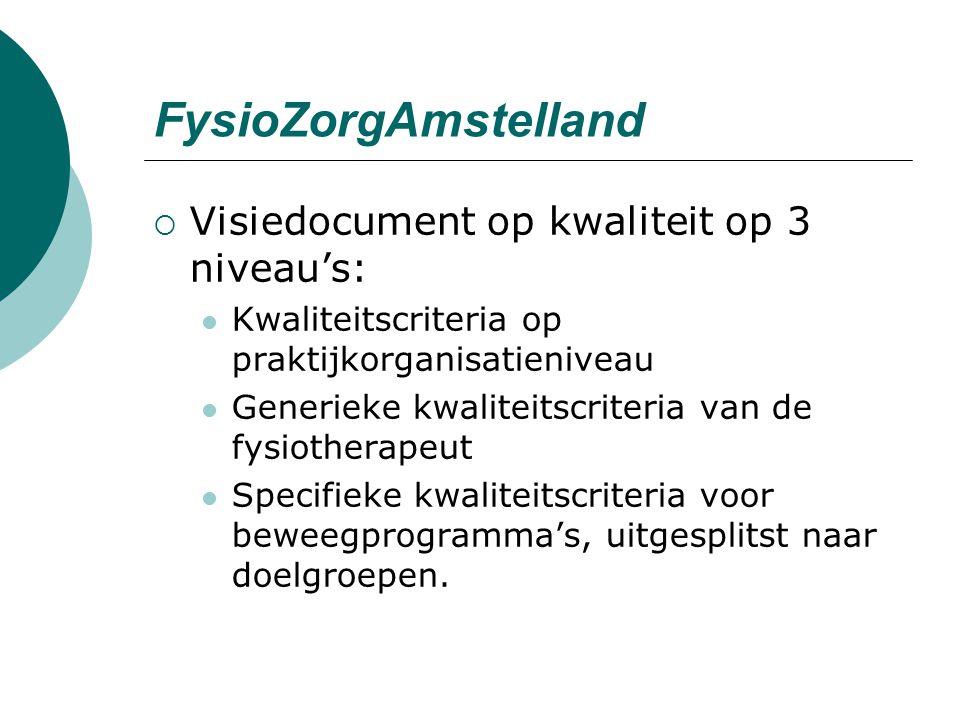 FysioZorgAmstelland  Visiedocument op kwaliteit op 3 niveau's: Kwaliteitscriteria op praktijkorganisatieniveau Generieke kwaliteitscriteria van de fysiotherapeut Specifieke kwaliteitscriteria voor beweegprogramma's, uitgesplitst naar doelgroepen.