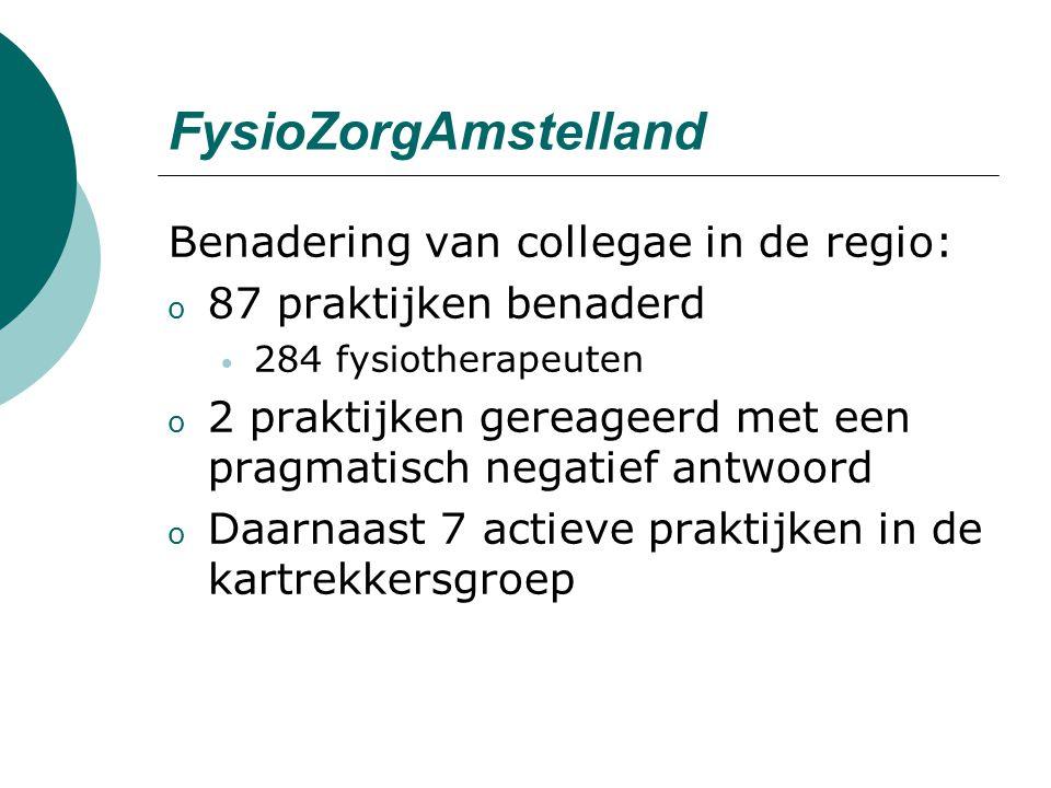 FysioZorgAmstelland Benadering van collegae in de regio: o 87 praktijken benaderd 284 fysiotherapeuten o 2 praktijken gereageerd met een pragmatisch negatief antwoord o Daarnaast 7 actieve praktijken in de kartrekkersgroep