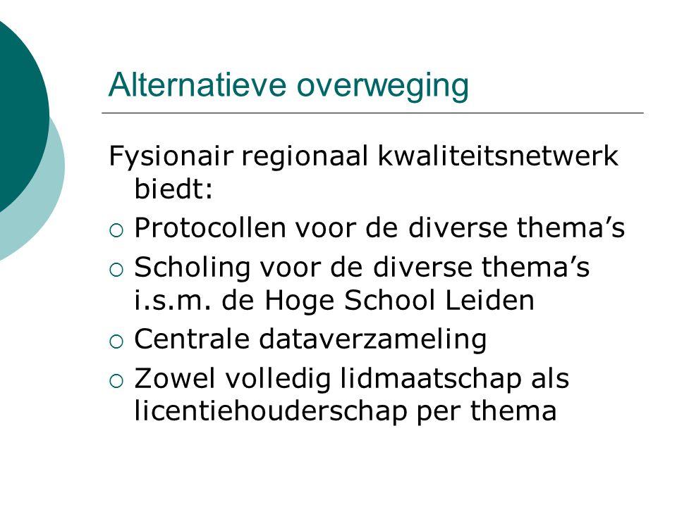 Alternatieve overweging Fysionair regionaal kwaliteitsnetwerk biedt:  Protocollen voor de diverse thema's  Scholing voor de diverse thema's i.s.m.