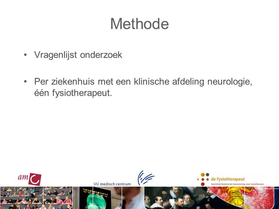 Methode Vragenlijst onderzoek Per ziekenhuis met een klinische afdeling neurologie, één fysiotherapeut.