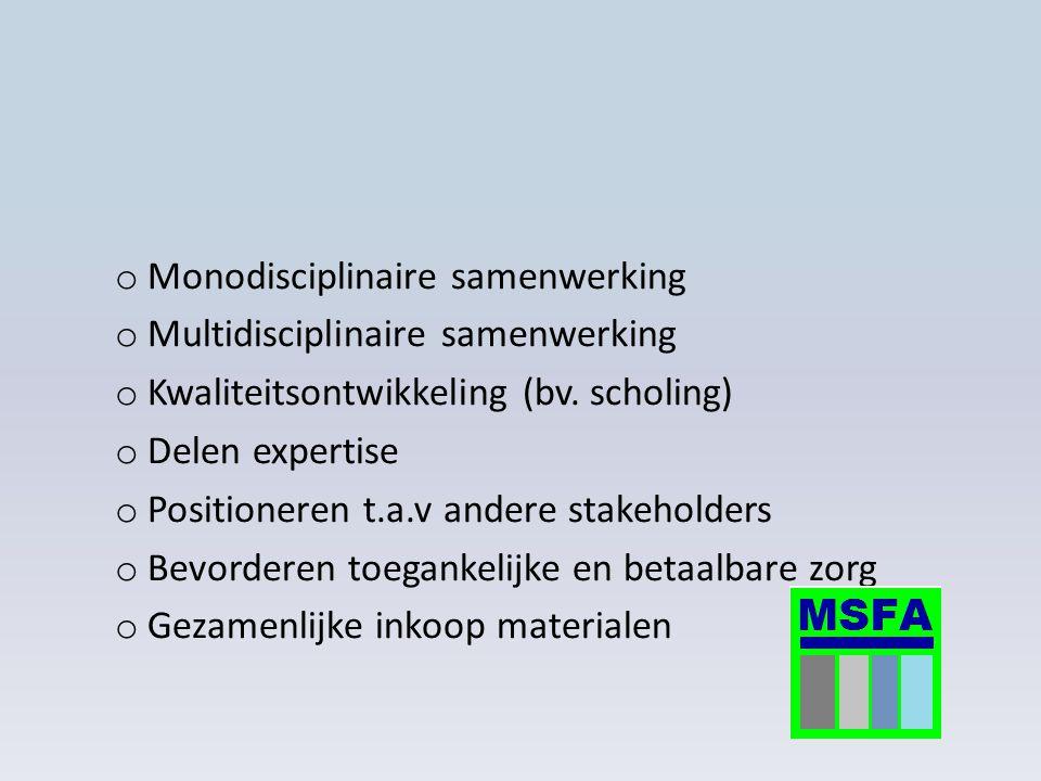o Monodisciplinaire samenwerking o Multidisciplinaire samenwerking o Kwaliteitsontwikkeling (bv. scholing) o Delen expertise o Positioneren t.a.v ande