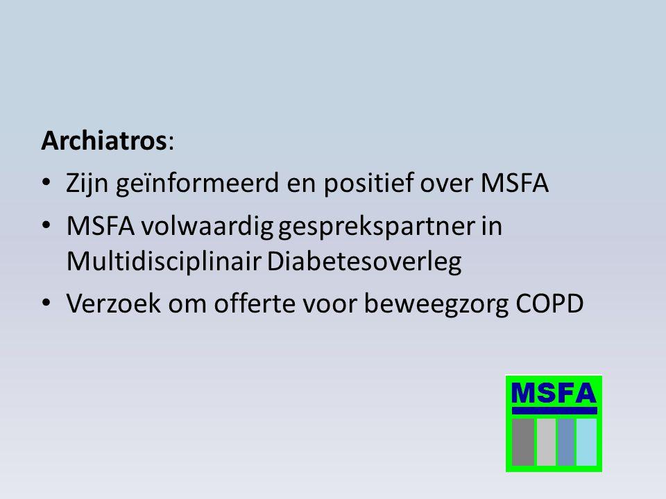 Archiatros: Zijn geïnformeerd en positief over MSFA MSFA volwaardig gesprekspartner in Multidisciplinair Diabetesoverleg Verzoek om offerte voor beweegzorg COPD
