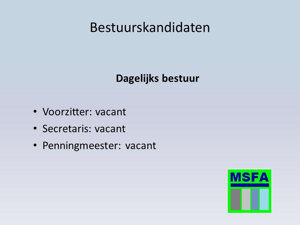 Bestuurskandidaten Dagelijks bestuur Voorzitter: vacant Secretaris: vacant Penningmeester: vacant