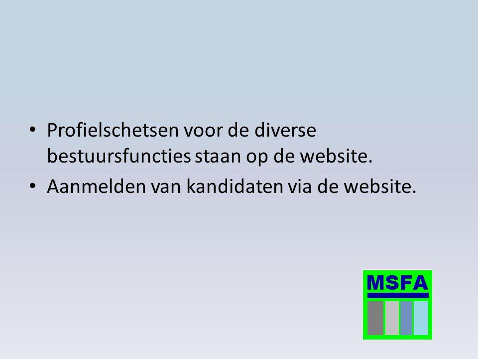 Profielschetsen voor de diverse bestuursfuncties staan op de website. Aanmelden van kandidaten via de website.