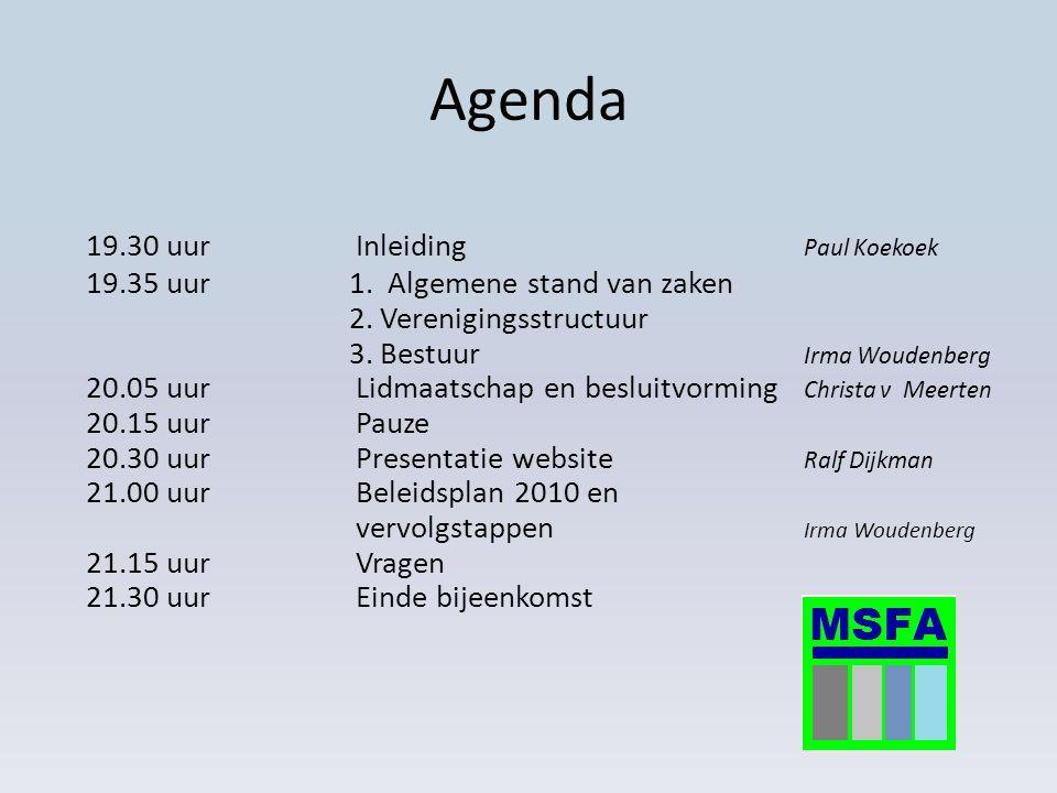 Samenvatting bijeenkomst 18 november Uitleg integrale bekostiging Inventarisatie netwerken regio Apeldoorn en organogram Presentatie missie/visie MSFA Accordering van de achterban voor proces tot nu toe: statusverlening van informele vereniging