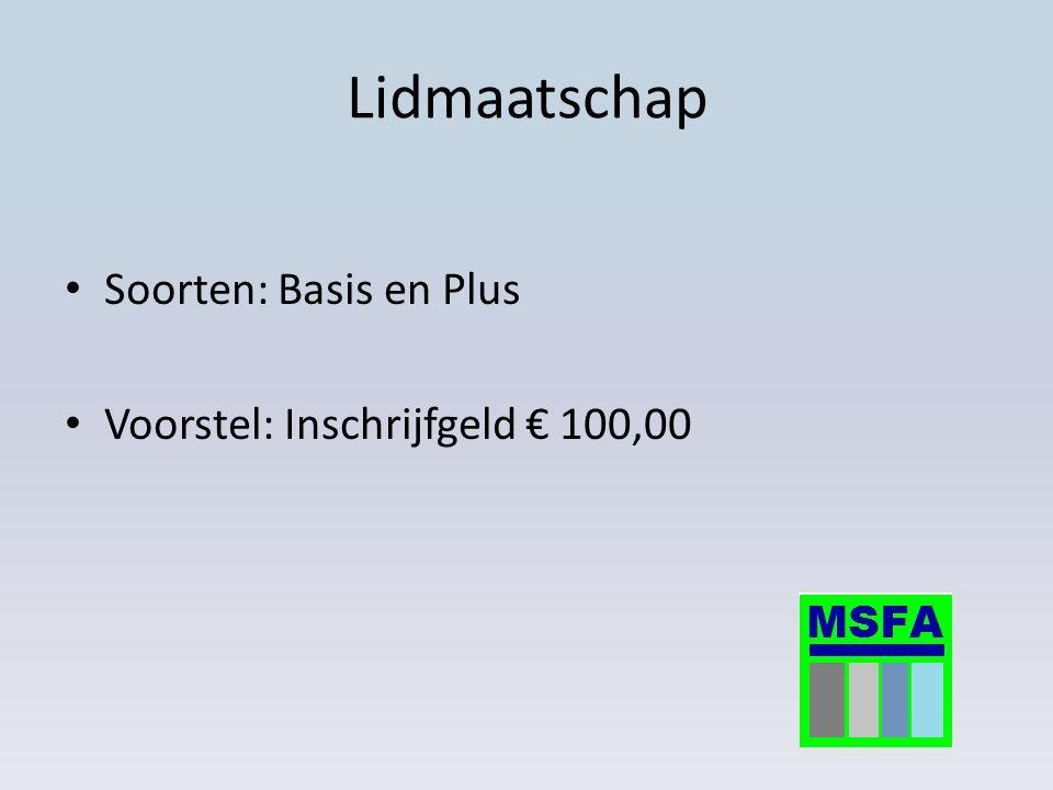 Lidmaatschap Soorten: Basis en Plus Voorstel: Inschrijfgeld € 100,00