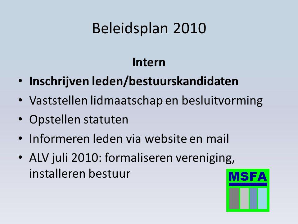 Beleidsplan 2010 Intern Inschrijven leden/bestuurskandidaten Vaststellen lidmaatschap en besluitvorming Opstellen statuten Informeren leden via websit