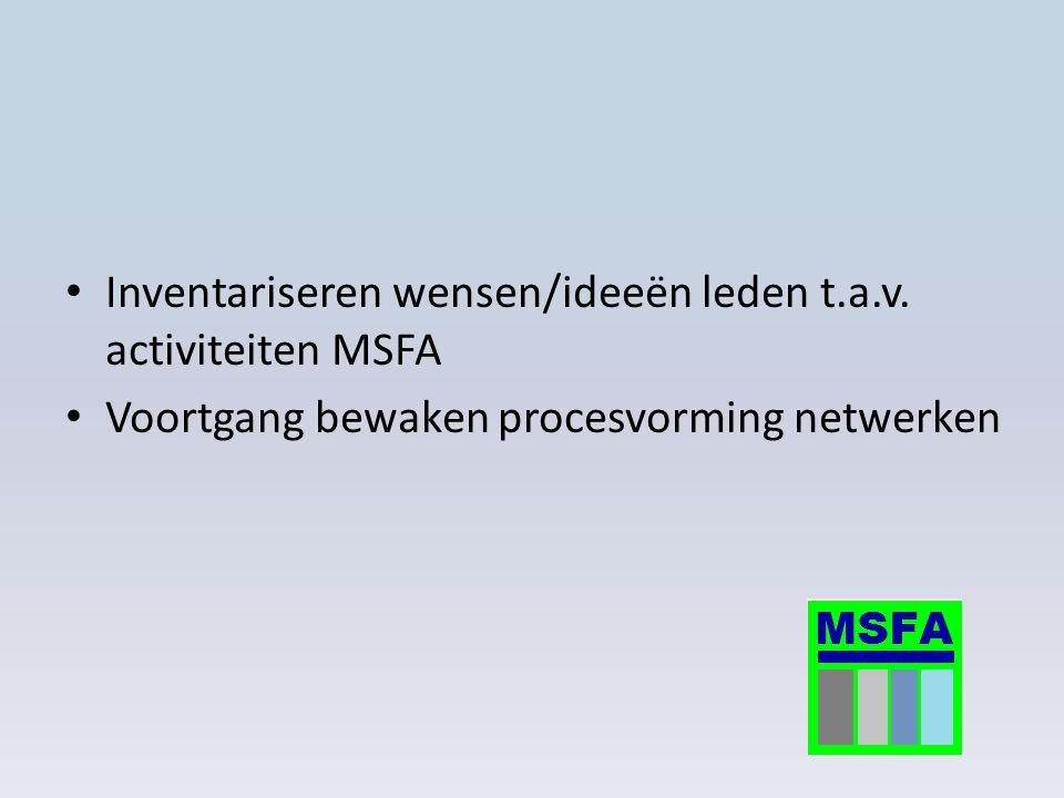 Inventariseren wensen/ideeën leden t.a.v. activiteiten MSFA Voortgang bewaken procesvorming netwerken