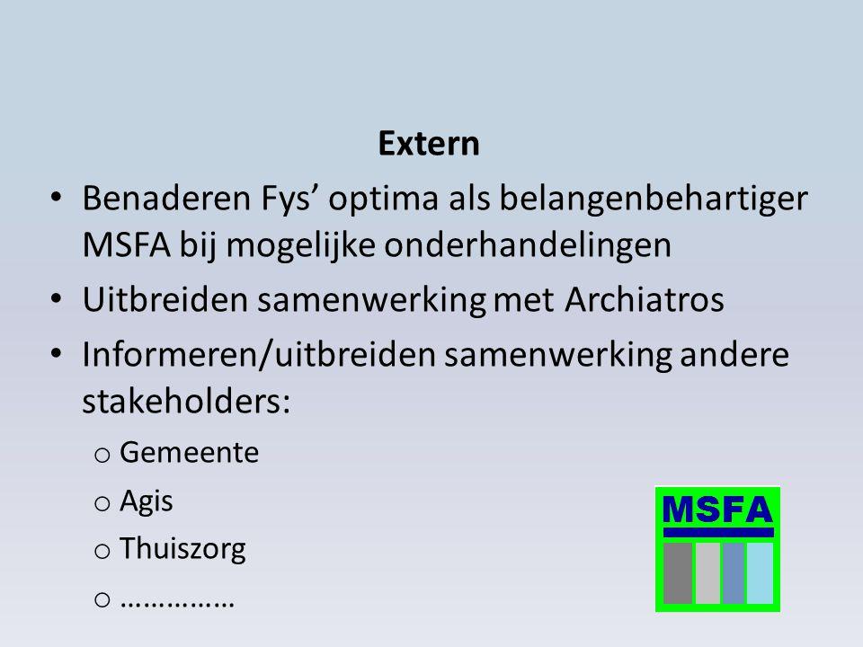 Extern Benaderen Fys' optima als belangenbehartiger MSFA bij mogelijke onderhandelingen Uitbreiden samenwerking met Archiatros Informeren/uitbreiden samenwerking andere stakeholders: o Gemeente o Agis o Thuiszorg o ……………