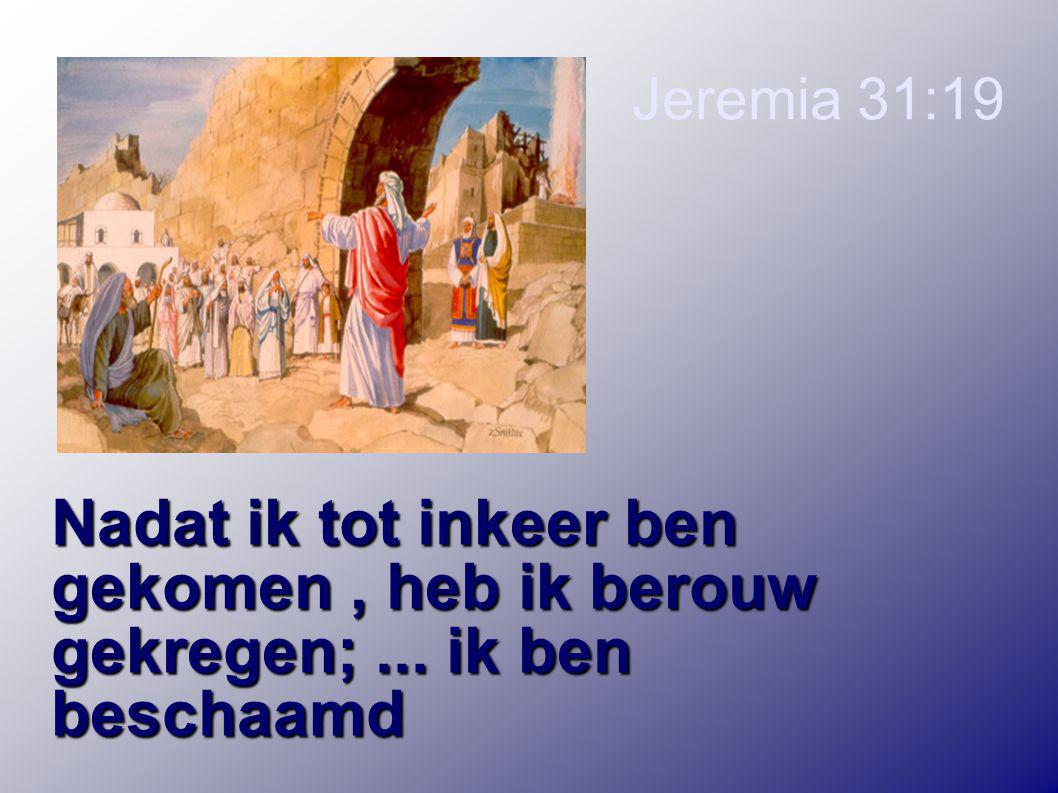 Jeremia 31:19 Nadat ik tot inkeer ben gekomen, heb ik berouw gekregen;...