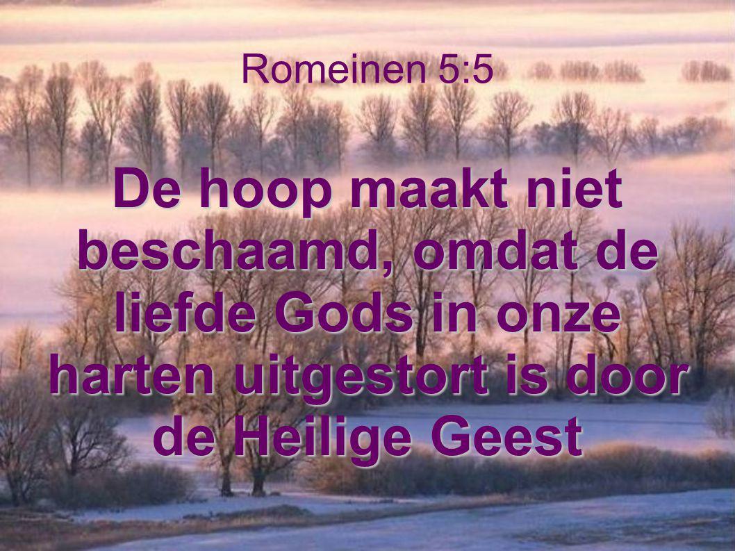 Romeinen 5:5 De hoop maakt niet beschaamd, omdat de liefde Gods in onze harten uitgestort is door de Heilige Geest