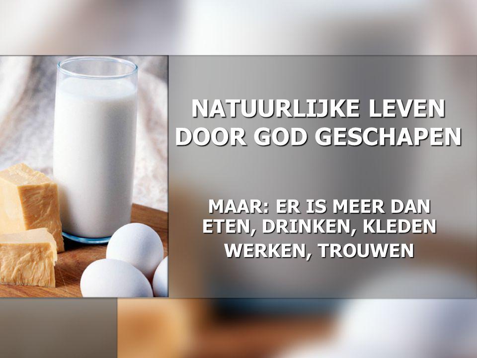 NATUURLIJKE LEVEN DOOR GOD GESCHAPEN MAAR: ER IS MEER DAN ETEN, DRINKEN, KLEDEN WERKEN, TROUWEN