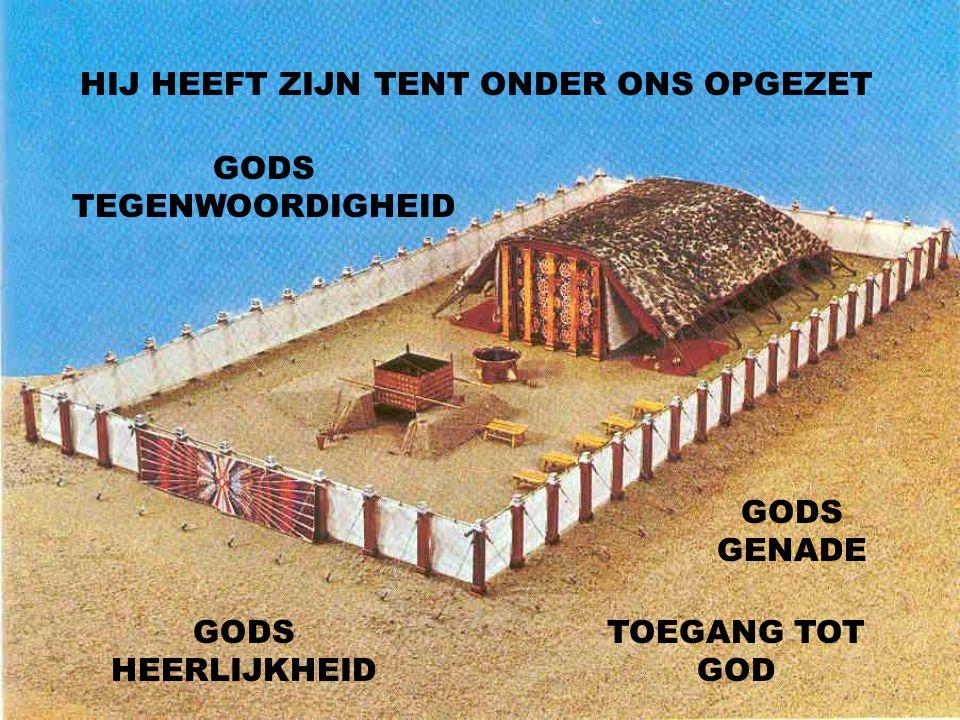 HIJ HEEFT ZIJN TENT ONDER ONS OPGEZET GODS TEGENWOORDIGHEID GODS HEERLIJKHEID GODS GENADE TOEGANG TOT GOD