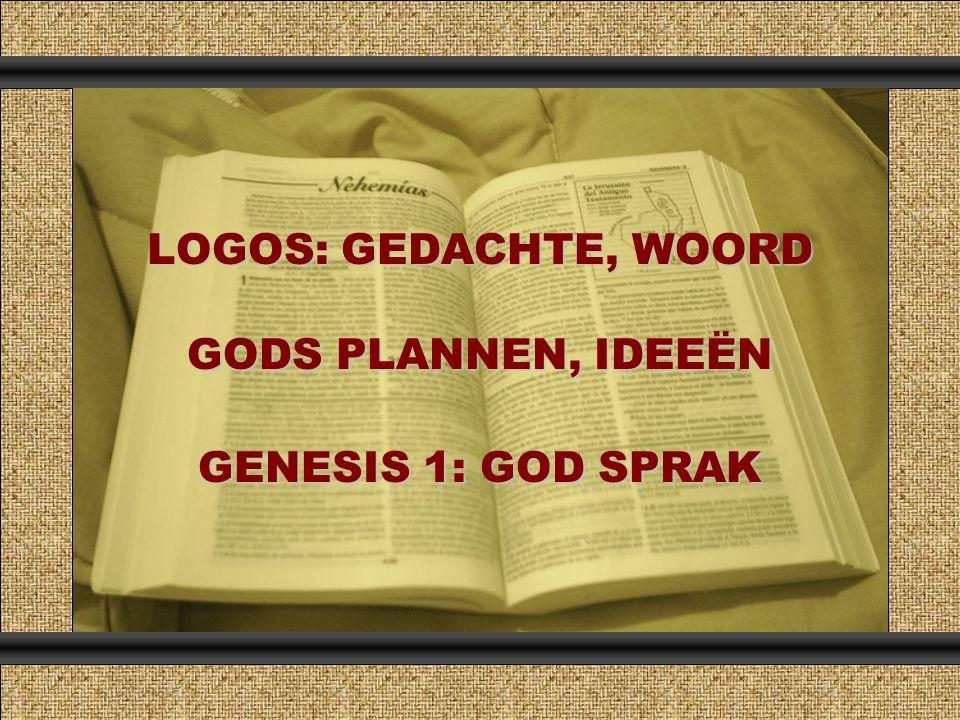 LOGOS: GEDACHTE, WOORD GODS PLANNEN, IDEEËN GENESIS 1: GOD SPRAK Comunicación y Gerencia