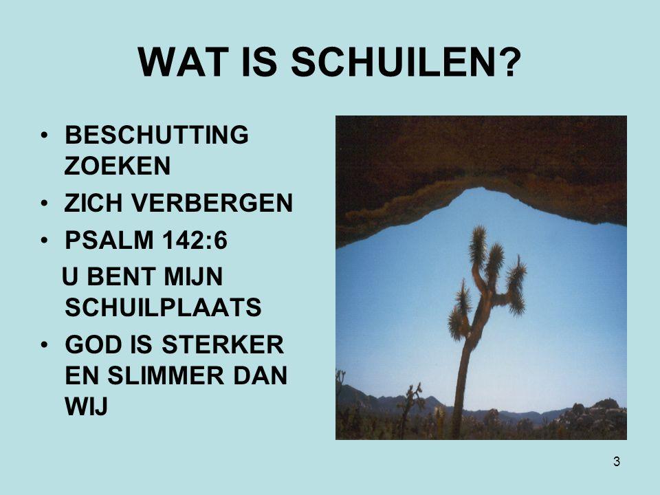 3 WAT IS SCHUILEN? BESCHUTTING ZOEKEN ZICH VERBERGEN PSALM 142:6 U BENT MIJN SCHUILPLAATS GOD IS STERKER EN SLIMMER DAN WIJ