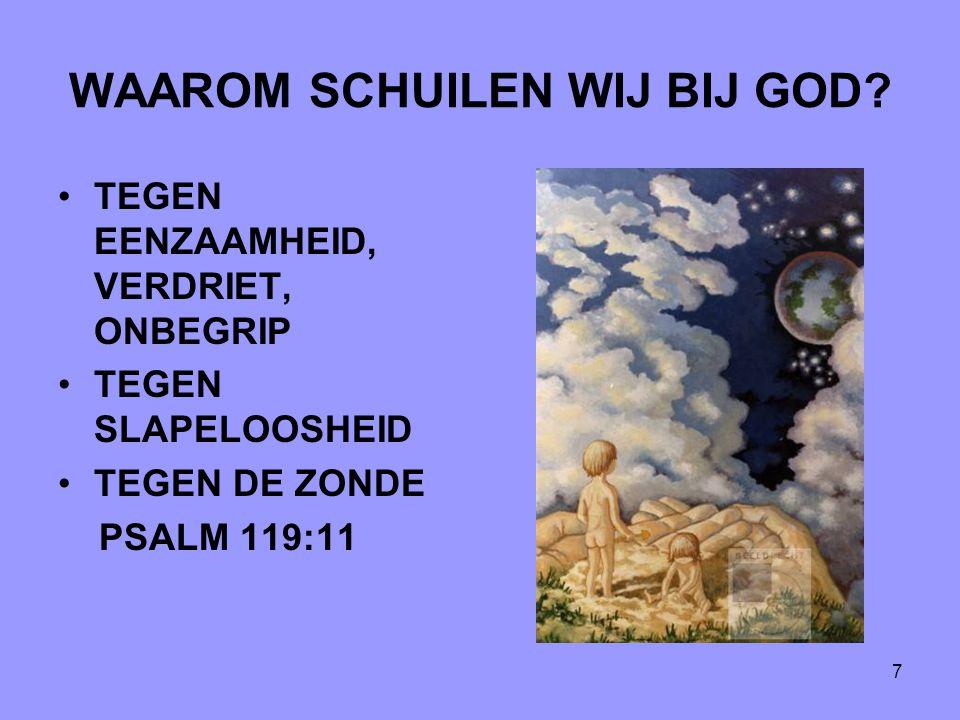 7 WAAROM SCHUILEN WIJ BIJ GOD? TEGEN EENZAAMHEID, VERDRIET, ONBEGRIP TEGEN SLAPELOOSHEID TEGEN DE ZONDE PSALM 119:11