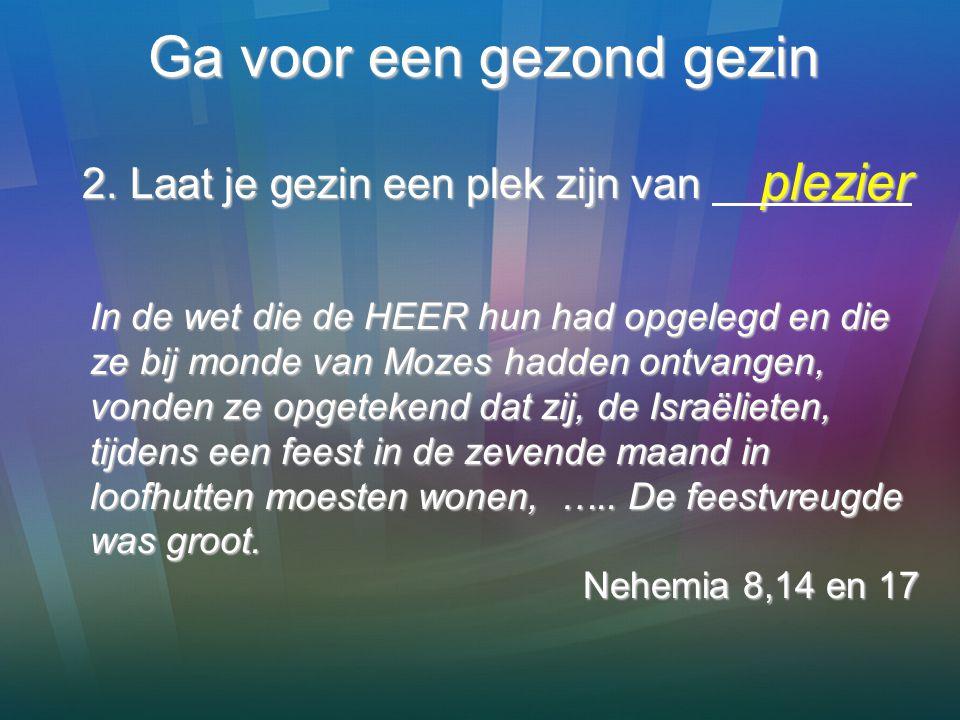 Ga voor een gezond gezin plezier plezier In de wet die de HEER hun had opgelegd en die ze bij monde van Mozes hadden ontvangen, vonden ze opgetekend d