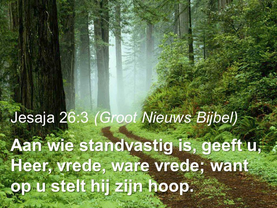 Jesaja 26:3 (Groot Nieuws Bijbel) Aan wie standvastig is, geeft u, Heer, vrede, ware vrede; want op u stelt hij zijn hoop.
