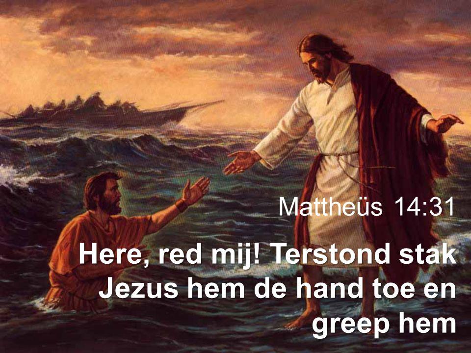 Mattheüs 14:31 Here, red mij! Terstond stak Jezus hem de hand toe en greep hem