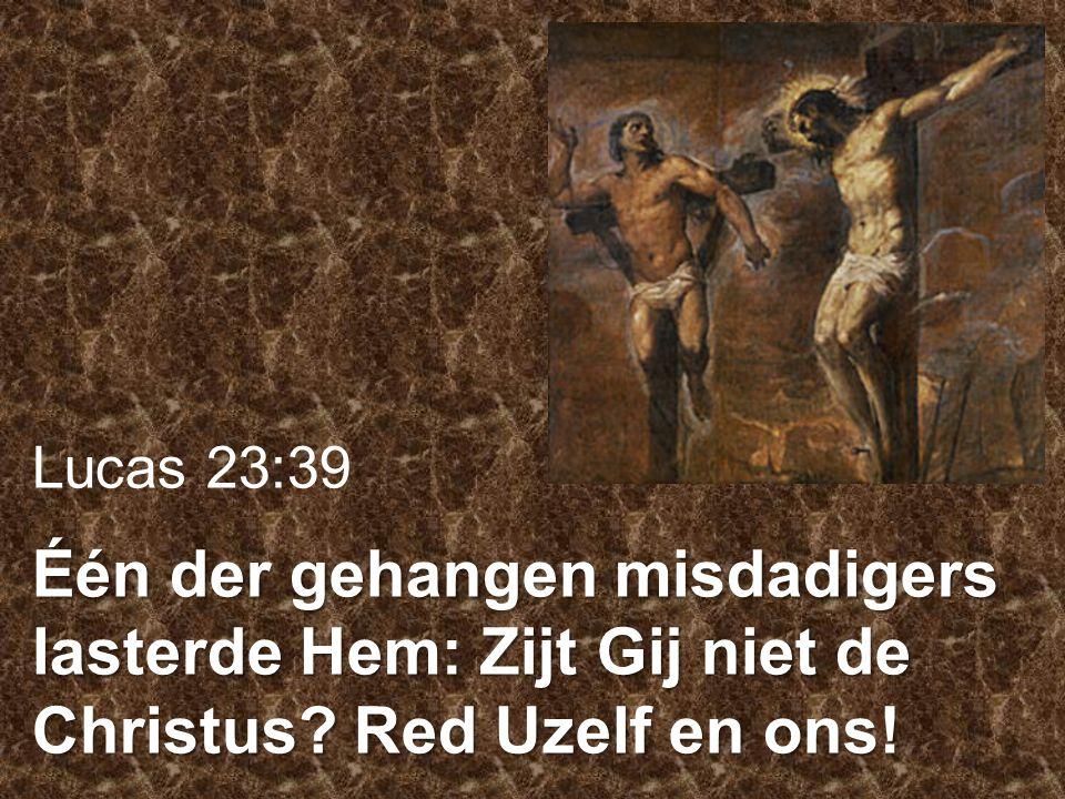 Lucas 23:39 Één der gehangen misdadigers lasterde Hem: Zijt Gij niet de Christus? Red Uzelf en ons!