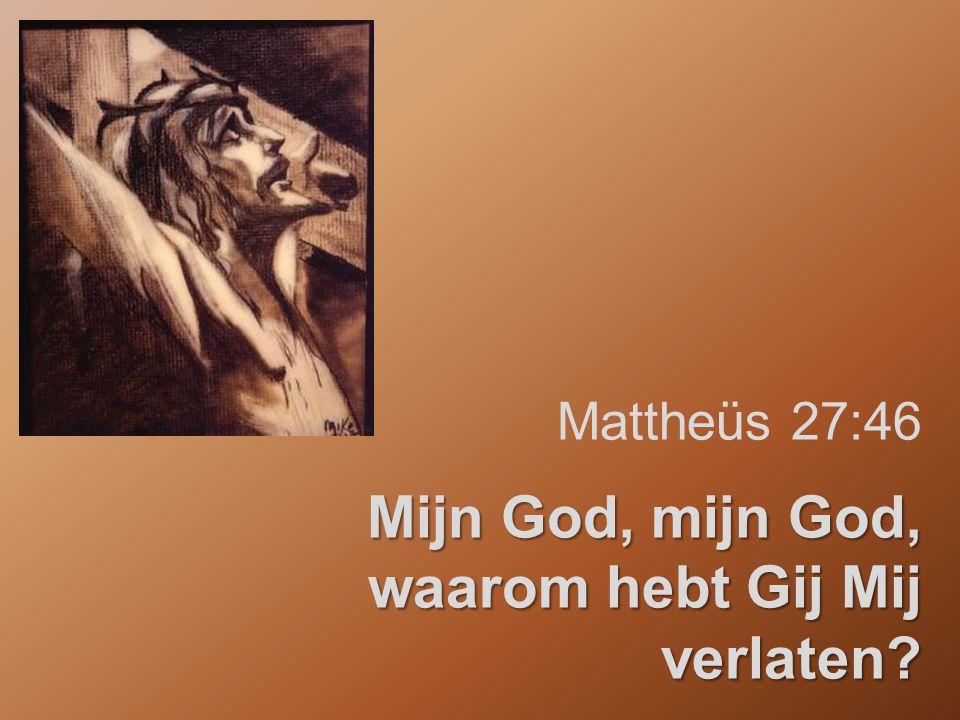 Mattheüs 27:46 Mijn God, mijn God, waarom hebt Gij Mij verlaten?