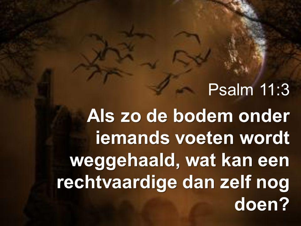 Psalm 11:3 Als zo de bodem onder iemands voeten wordt weggehaald, wat kan een rechtvaardige dan zelf nog doen?