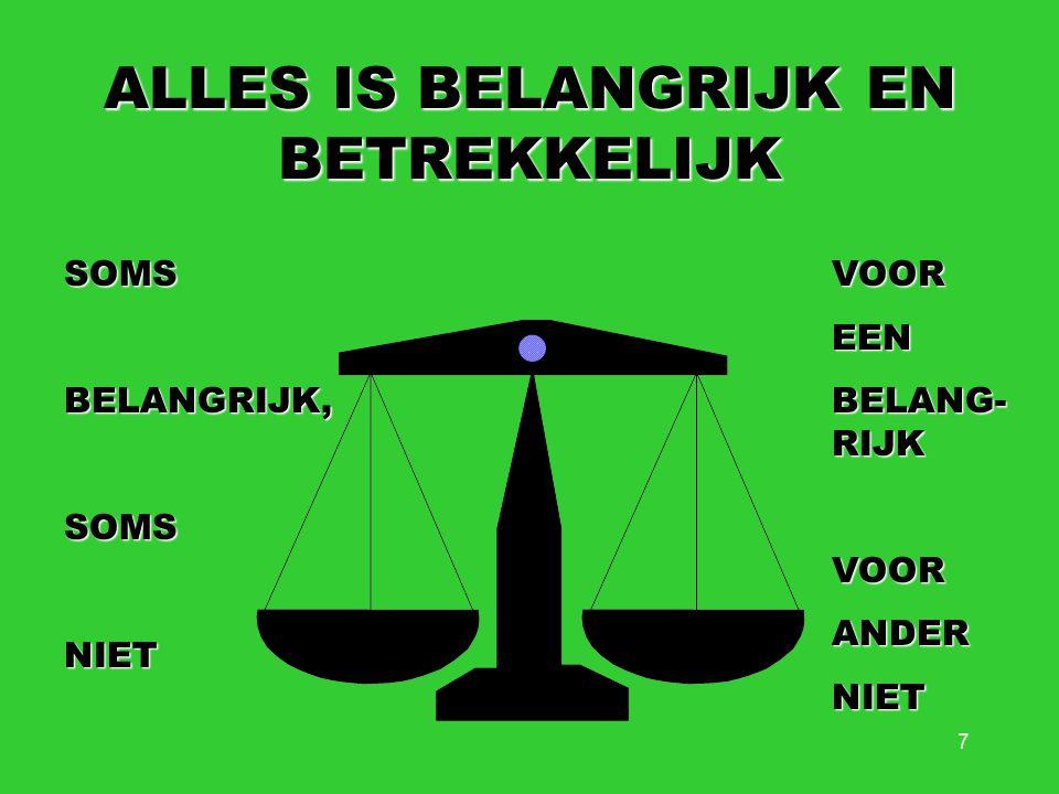 7 ALLES IS BELANGRIJK EN BETREKKELIJK SOMSBELANGRIJK,SOMSNIETVOOREEN BELANG- RIJK VOORANDERNIET