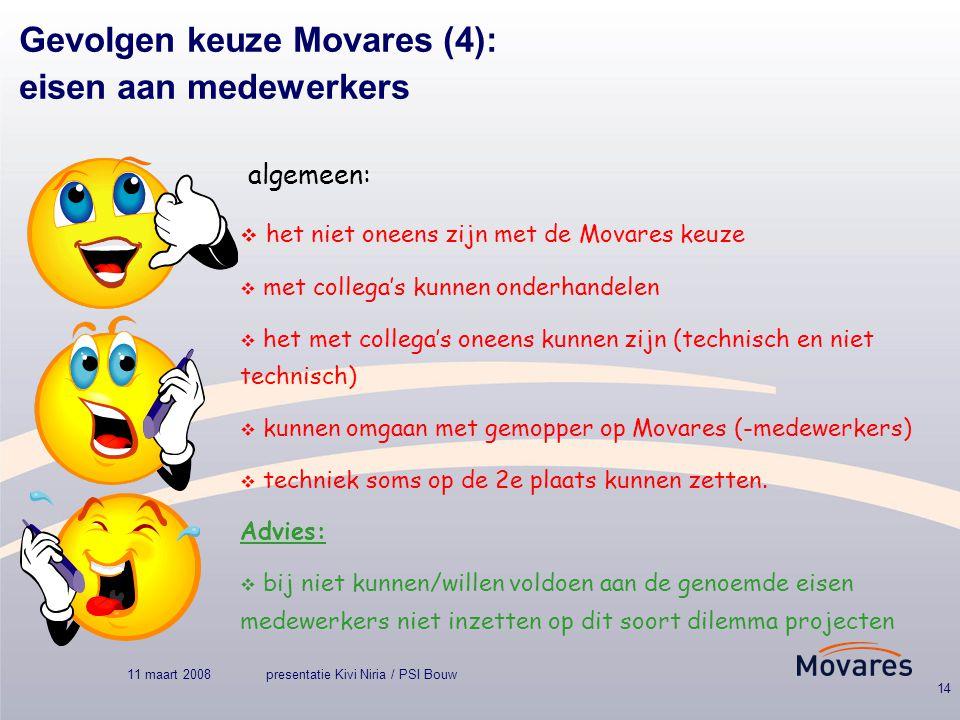 11 maart 2008presentatie Kivi Niria / PSI Bouw 14 Gevolgen keuze Movares (4): eisen aan medewerkers algemeen:  het niet oneens zijn met de Movares keuze  met collega's kunnen onderhandelen  het met collega's oneens kunnen zijn (technisch en niet technisch)  kunnen omgaan met gemopper op Movares (-medewerkers)  techniek soms op de 2e plaats kunnen zetten.