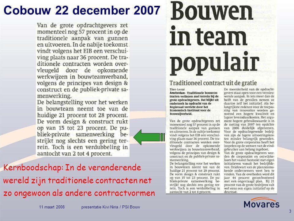 11 maart 2008presentatie Kivi Niria / PSI Bouw 3 Cobouw 22 december 2007 Kernboodschap: In de veranderende wereld zijn traditionele contracten net zo ongewoon als andere contractvormen