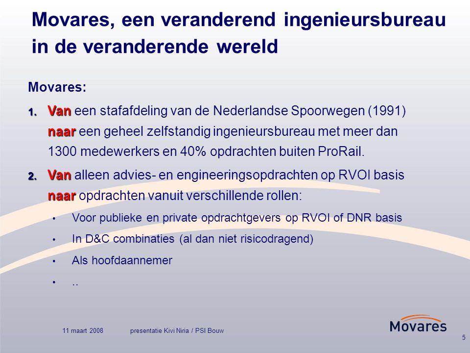 11 maart 2008presentatie Kivi Niria / PSI Bouw 5 Movares, een veranderend ingenieursbureau in de veranderende wereld Movares: 1.